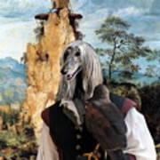 Afghan Hound-falconer And Windmill Canvas Fine Art Print Art Print