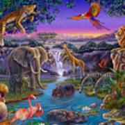 African Animals At The Water Hole Art Print