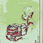 African Boy Blue Art Print by Sheri Buchheit