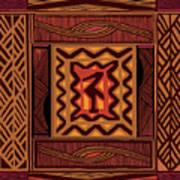 African Collage Rust Art Print