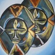 African Double Mask Art Print