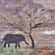 African Landscape Baby Elephant And Banya Tree At Watering Hole With Mountain And Sunset Grasses Shr Art Print
