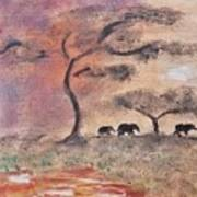 African Landscape Three Elephants And Banya Tree At Watering Hole With Mountain And Sunset Grasses S Art Print