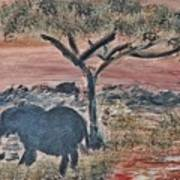 African Landscape With Elephant And Banya Tree At Watering Hole With Mountain And Sunset Grasses Shr Art Print