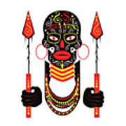 African Motive Background With Ornament Details And Spears  Art Print