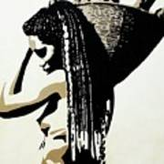 African Woman With Basket Art Print