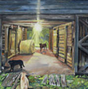 After Hours In Pa's Barn - Barn Lights - Labs Art Print