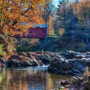 Afternoon Autumn Sun On Vermont Covered Bridge Art Print