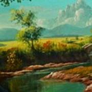 Afternoon By The River With Peaceful Landscape L A S Art Print