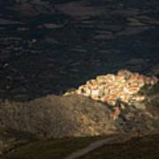 Afternoon Sun Lighting Up Village Of Speloncato In Corsica Art Print