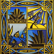 Art Deco In Blue Art Print