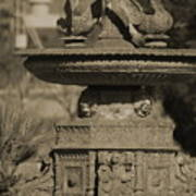Aged And Worn Swan Statues On Rustic Cast Fountain Art Print