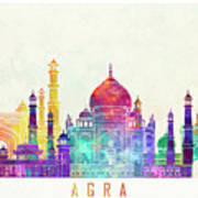 Agra Landmarks Watercolor Poster Art Print