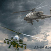 Ah-64 Apache Attack Helicopter In Flight Art Print by Randy Steele