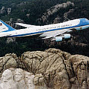 Air Force One Flying Over Mount Rushmore Art Print