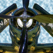 Airplane Propeller And Engine Navy Art Print