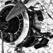 Airplane Propeller And Engine T28 Trojan 02 Bw Art Print