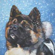 Akita In Snow Art Print