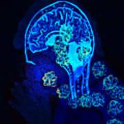 Al In The Mind Black Light View Art Print