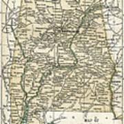 Alabama Antique Map 1891 Art Print