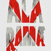 Alabama Typography Map Flag Art Print