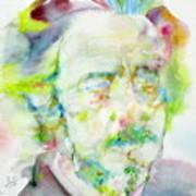 Alan Watts - Watercolor Portrait.3 Art Print