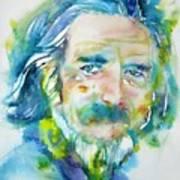 Alan Watts - Watercolor Portrait.4 Art Print