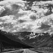 Alaska Bw On The Road  Art Print
