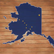 Alaska Map And Flag On Wood Art Print