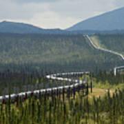 Alaska Pipeline Heading South Thru Art Print