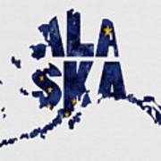 Alaska Typography Map Flag Art Print
