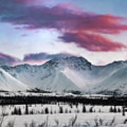 Alaskan Range At Sunset Art Print