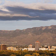Albuquerque Skyline With The Sandia Mountains In The Background Art Print by Jeremy Woodhouse