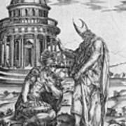 Alexander The Great Kneeling Before The High Priest Of Ammon Art Print