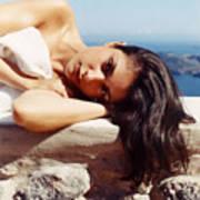 Alexis In Santorini Iv Art Print