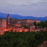Alhambra Granada Dusk Art Print