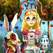 Alice And The Rabbit Having Tea... Art Print