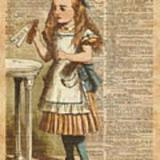 Alice In Wonderland Drink Me Vintage Dictionary Art Illustration Art Print