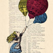Alice In Wonderland With Big Colorful Balloons Art Print