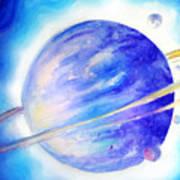 Alien Planet. Blue Light Of Hope Art Print