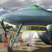 Alien Vacation - Gasoline Stop Art Print
