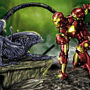 Alien Vs Iron Man Art Print by Pete Tapang