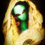 Alien Wearing Lace Mantilla Art Print