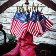 All American Flag And Red Boots - Painterly Art Print