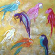All Dressed Up - Parrots Art Print