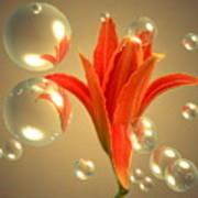 Almost A Blossom In Bubbles Art Print