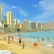 Aloha From Hawaii - Waikiki Beach Honolulu Art Print