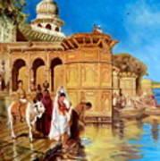 Along The Ghats, Mathura After Edwin Lord Weeks Art Print