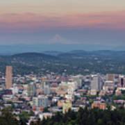 Alpenglow Over Portland Oregon Cityscape Art Print