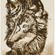 Alpha Male - The Wolf - Antiqued Art Print
